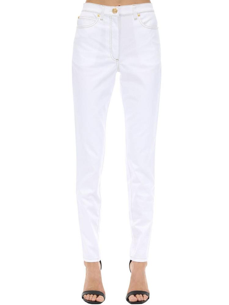 VERSACE High Waist Skinny Stretch Denim Jeans in white