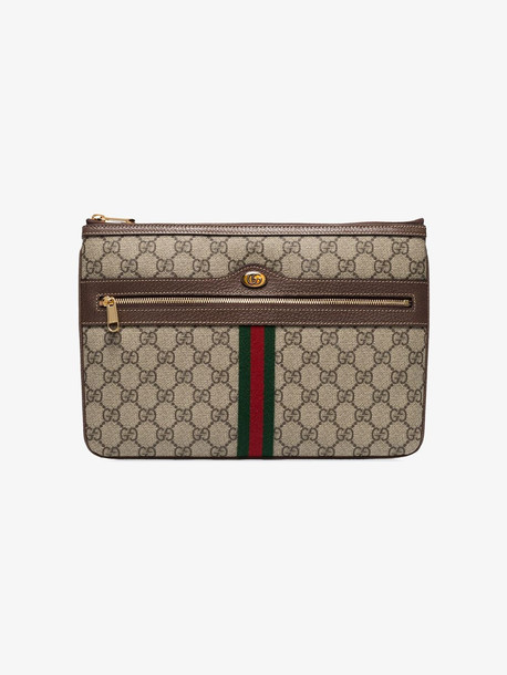 Gucci brown Ophidia GG Supreme pouch