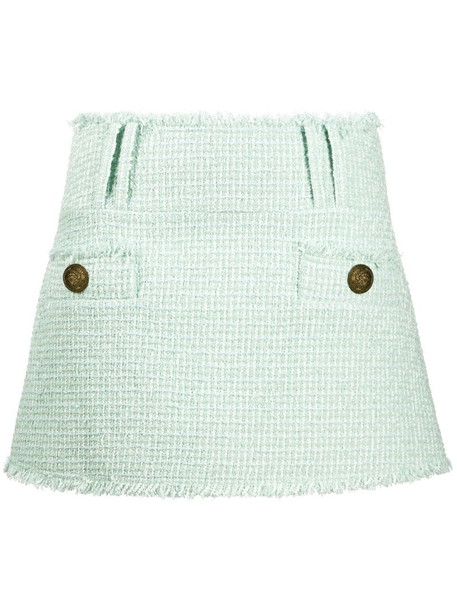 Balmain tweed mini skirt in green