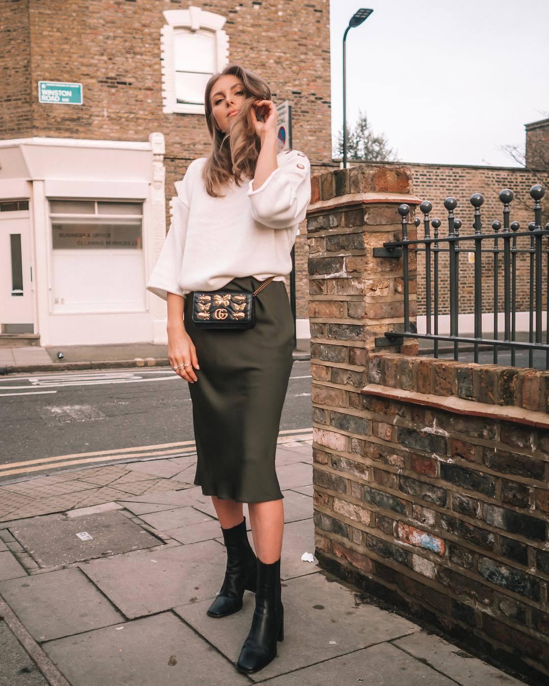 skirt midi skirt high waisted skirt black boots heel boots gucci bag white sweater
