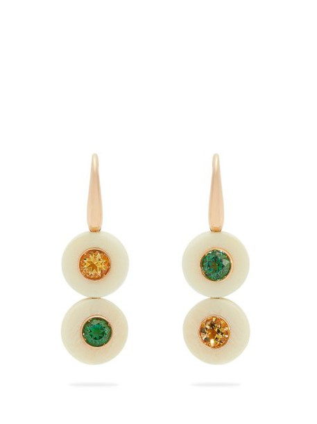 Francesca Villa - Eclipse Yellow & Green Topaz Earrings - Womens - White
