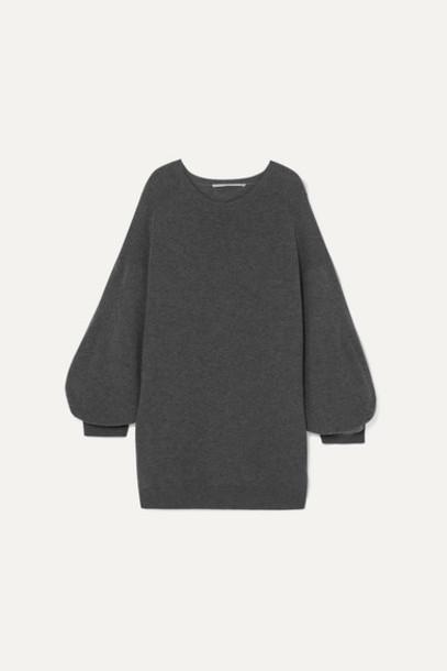 Stella McCartney - Oversized Mélange Wool Mini Dress - Gray