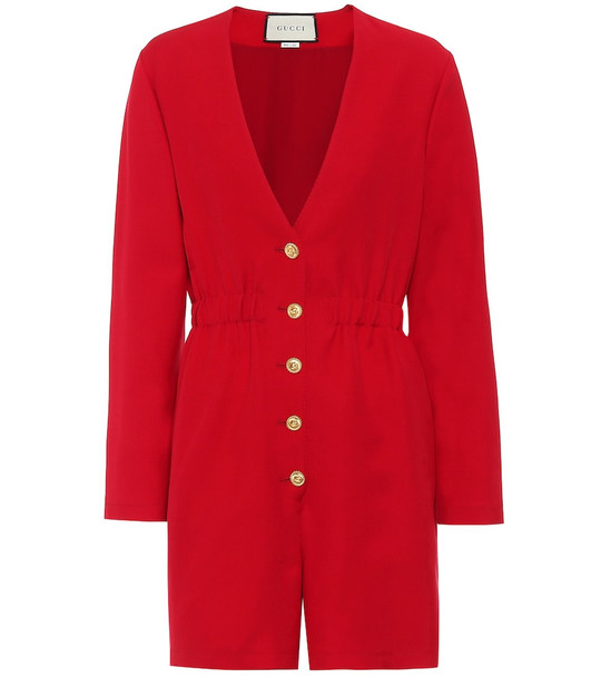 Gucci Wool and silk playsuit in red