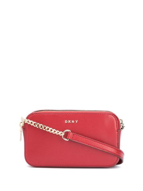 DKNY logo-plaque cross-body bag in red
