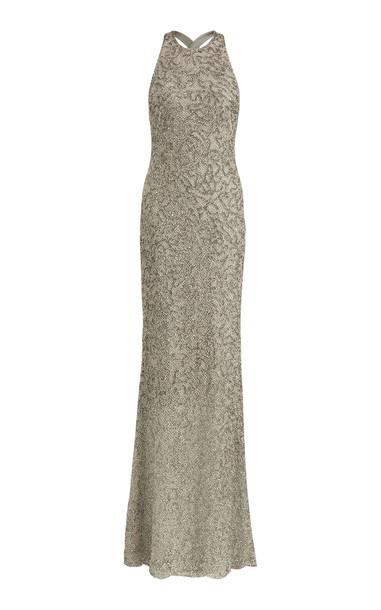 Ralph Lauren Grayden Bead-Embellished Gown Size: 8 in grey