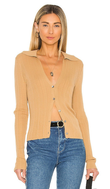 Vince Ribbed Polo Cardigan in Tan