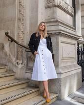 skirt,white skirt,midi skirt,gap,high waisted skirt,pumps,denim jacket,black jacket,white top
