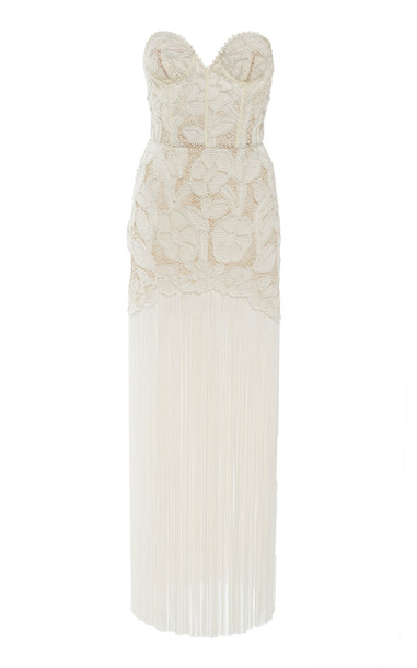 Oscar de la Renta SpecialOrder-Fringed Strapless Guipure Lace Gown-AH in white