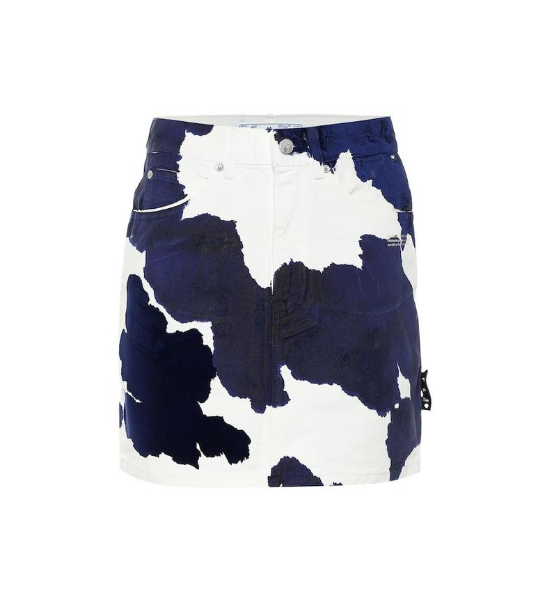Off-White Printed denim miniskirt in blue