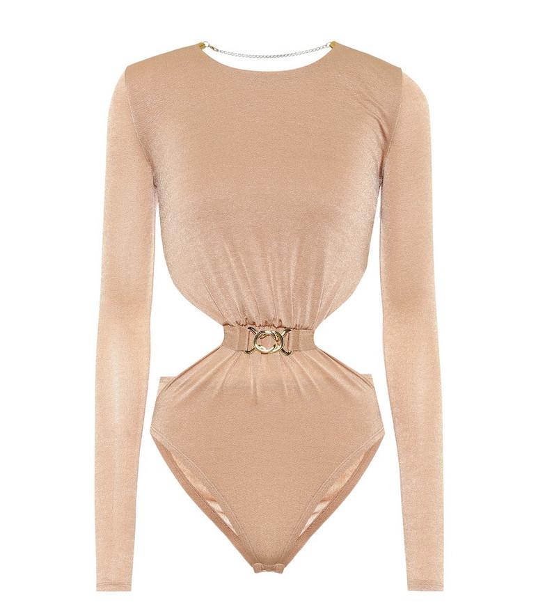 Dodo Bar Or Cut-out stretch-crêpe bodysuit in beige