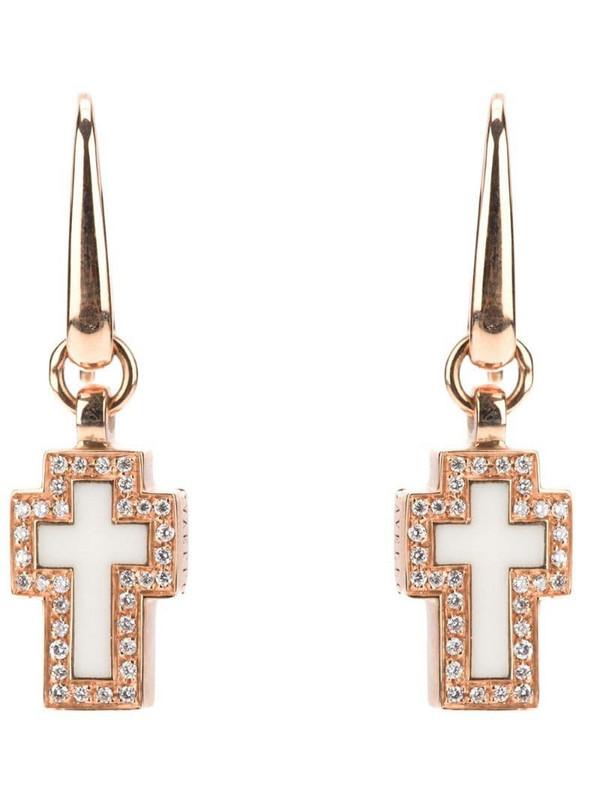 Gavello cross diamond earrings in metallic