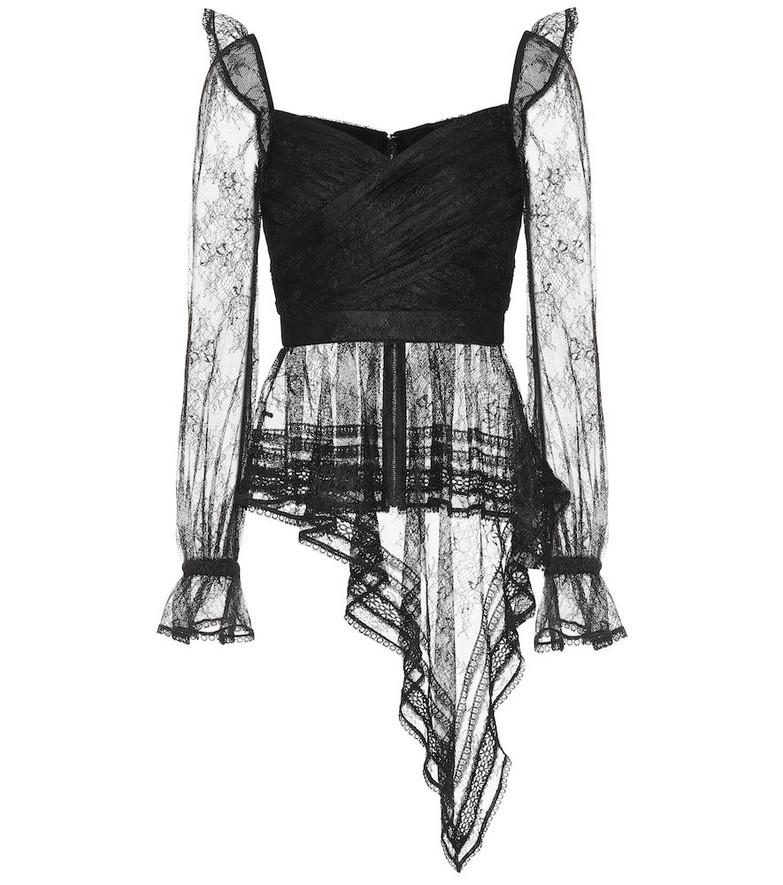 Self-Portrait Lace wrap top in black