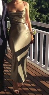 dress,satin,long prom dress,long dress,spaghetti strap,gold,gold dress,champagne dress,mermaid prom dress,prom shoes,cute dress,sexy dress