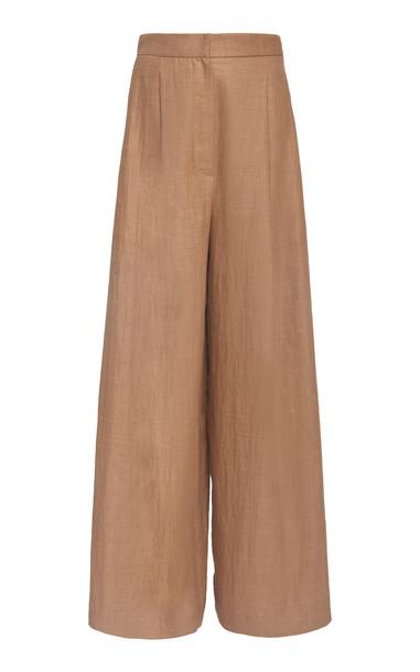 Brunello Cucinelli Raffia Linen Twill Wide Leg Pants in brown
