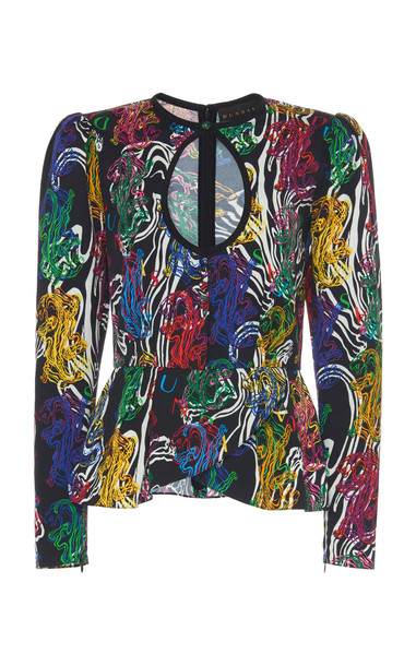 Dundas Panther Printed Keyhole Peplum Blouse Size: 36 in multi