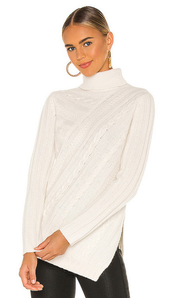 MILLY Asymmetrical Cable Turtleneck in White in ecru