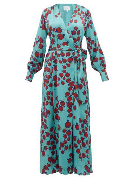 Rebecca De Ravenel - Claire Pomegranate Print Silk Satin Wrap Dress - Womens - Blue Multi