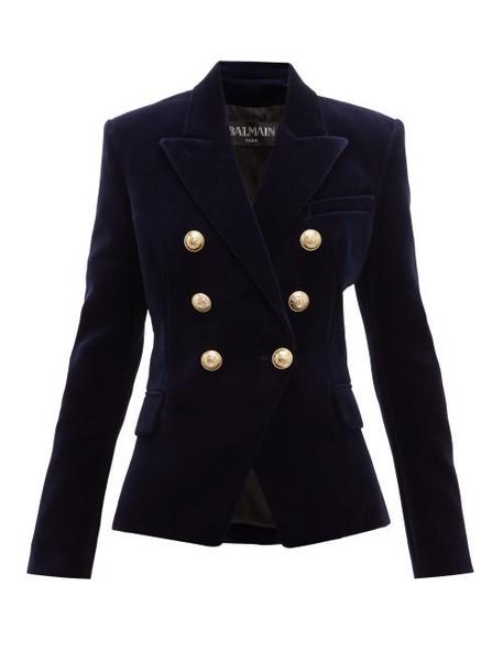 Balmain - Double Breasted Velvet Blazer - Womens - Navy