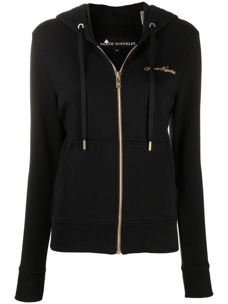 Moose Knuckles logo zipped hoodie in black
