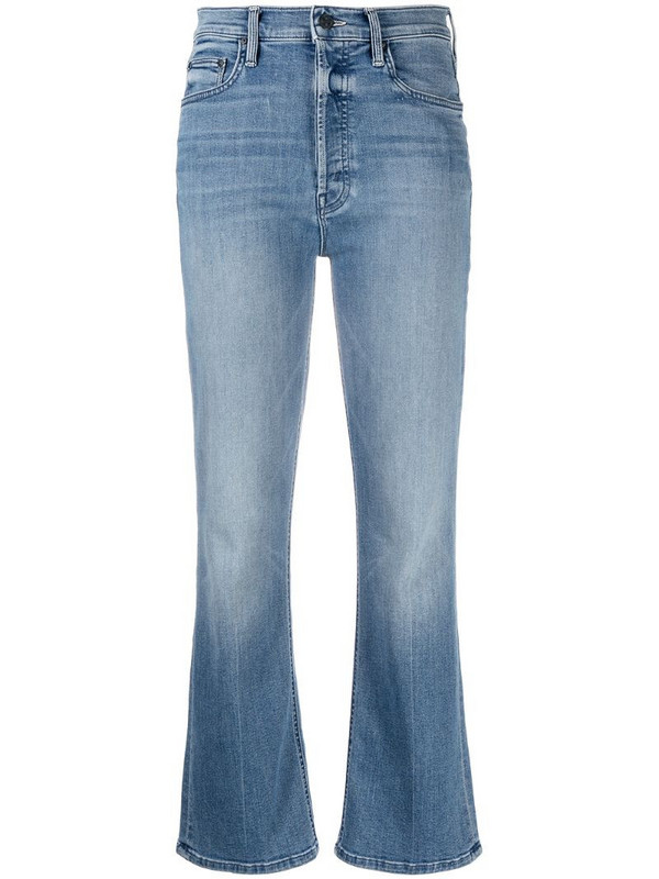 Mother cropped flared jeans in blue