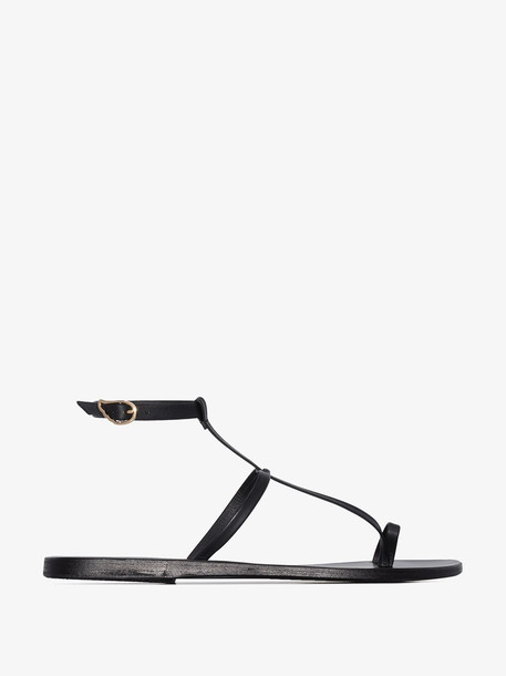 Ancient Greek Sandals black anthi leather sandals