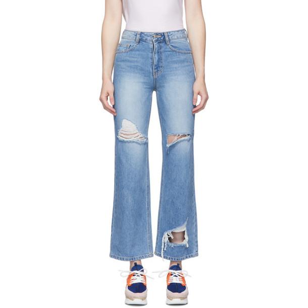 SJYP Blue Vintage Wash Cut Jeans