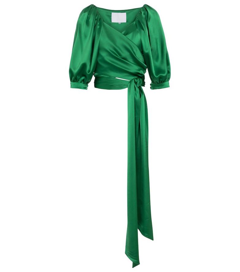 Costarellos Hadley satin wrap top in green