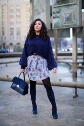 samieze,blogger,shoes,sweater,dress,bag,blue sweater,blue boots,winter outfits
