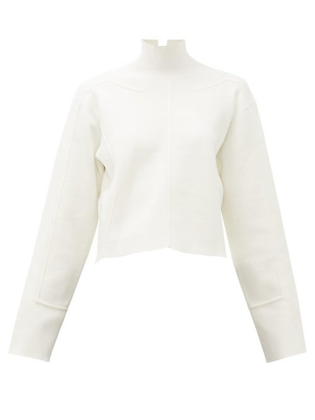 Proenza Schouler - Raised-seam Mock-neck Jersey Cropped Sweater - Womens - White