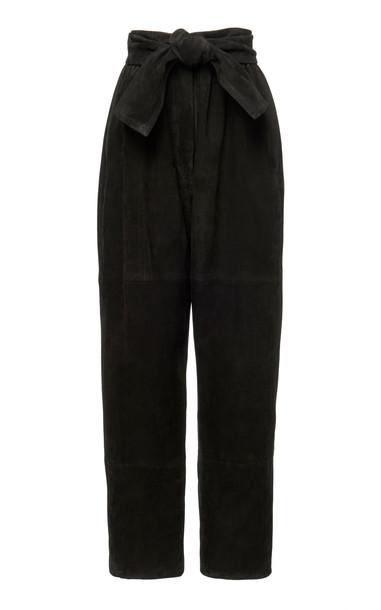 Zimmermann Suede Tapered Pants in black