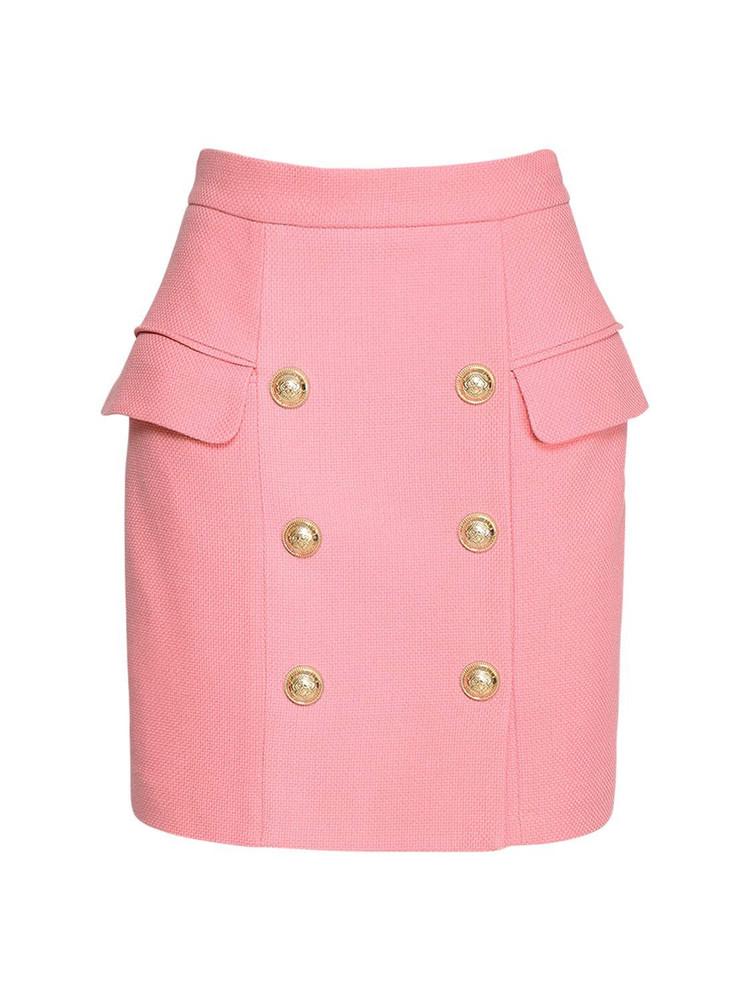 BALMAIN High Waisted Cotton Piqué Mini Skirt in pink