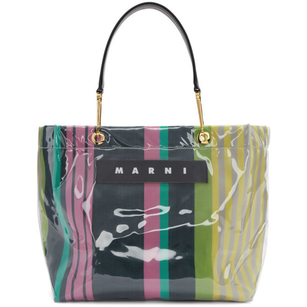 Marni Navy and Red Glossy Grip Shopper Tote