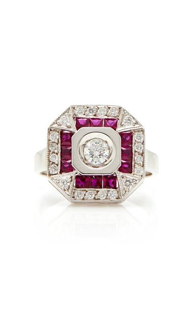 Melis Goral Paris 18K Gold Diamond And Ruby Ring in white