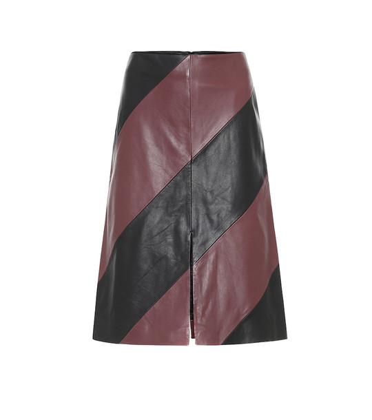 Stand Studio Andrea leather midi skirt in red