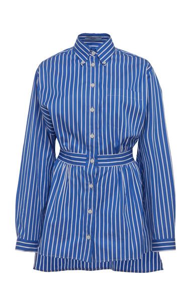 Prada Striped Cotton Button Down Shirt