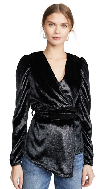 KENDALL + KYLIE KENDALL + KYLIE Puff Sleeve Wrap Top in black