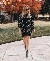 sweater,knitted sweater,v neck,black sweater,balenciaga,black skirt,lace up heels,sunglasses,oversized sweater,logo