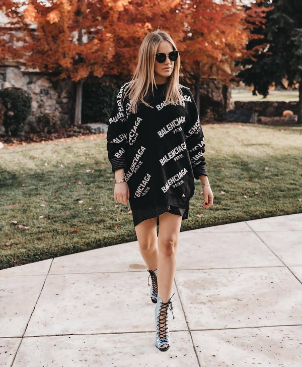 sweater knitted sweater v neck black sweater balenciaga black skirt lace up heels sunglasses oversized sweater logo