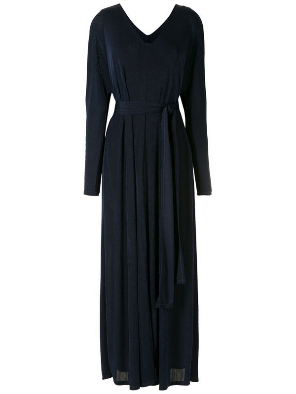 Alcaçuz belted pleated dress in blue