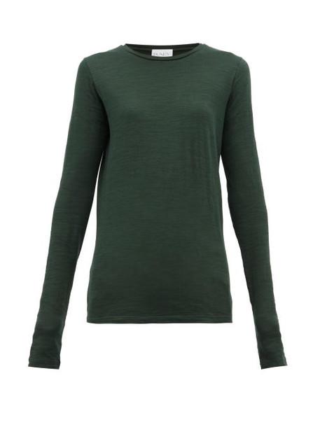 Raey - Long Sleeved Slubby Cotton Jersey T Shirt - Womens - Dark Green