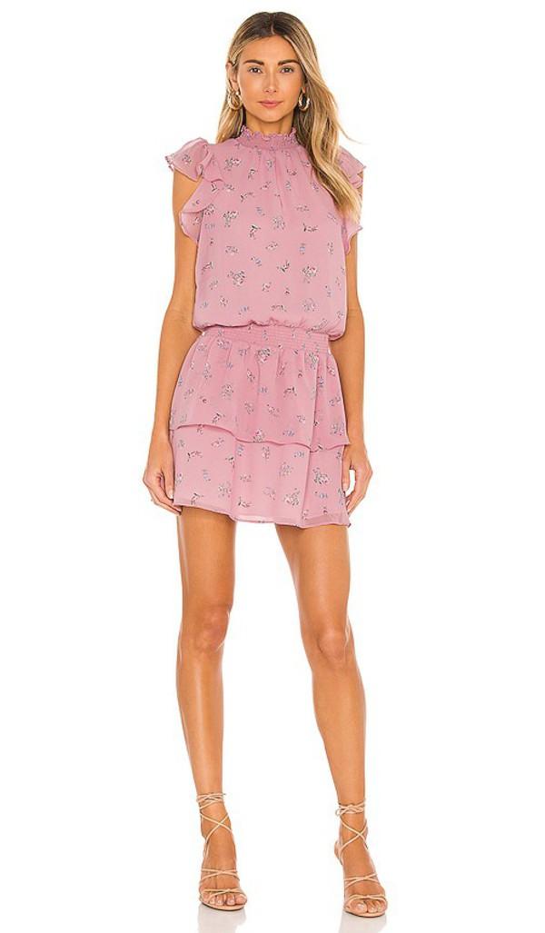 1. STATE Flutter Sleeve Smocked Neck Dress in Pink in rose