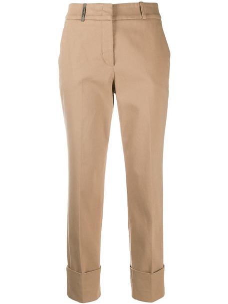 Peserico upturned hem trousers in brown