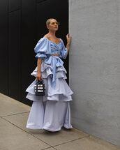 top,crop tops,off the shoulder,blue top,maxi skirt,ruffle,bucket bag,handbag