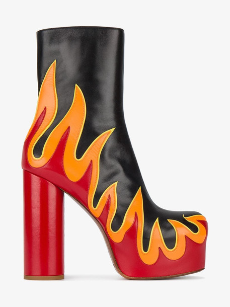 Vetements flame applique platform boots in black