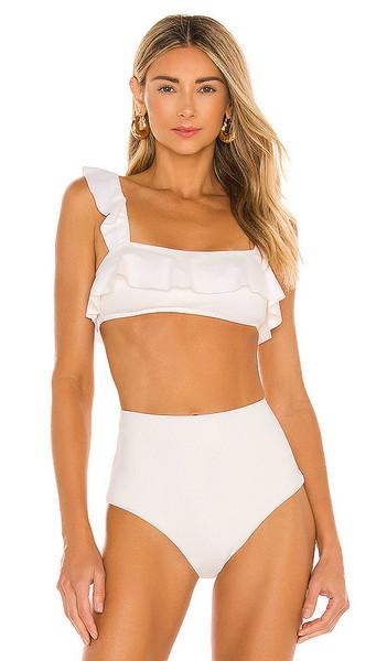 eberjey So Solid Jane Bikini Top in White in ecru