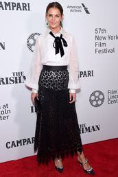 top,blouse,shirt,katie holmes,celebrity,skirt,maxi skirt,black skirt,fashion week,lace