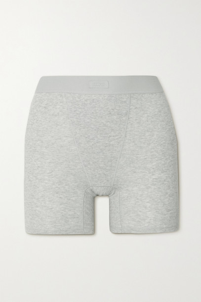 Skims - Cotton Collection Ribbed Cotton-blend Jersey Boxer Shorts - Light Heather Grey in gray