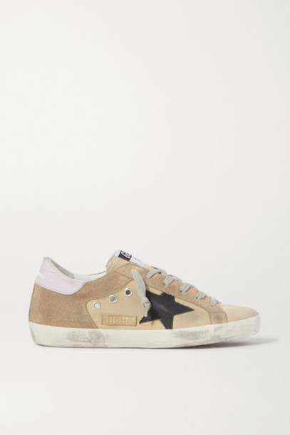 Golden Goose - Superstar Distressed Canvas And Suede Sneakers - Sand