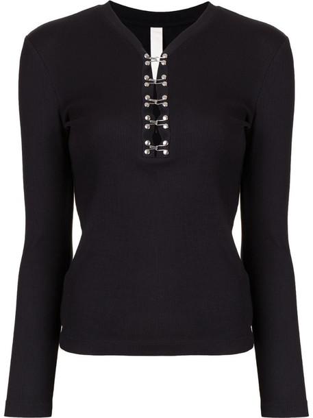 Dion Lee Henley long-sleeve top in black