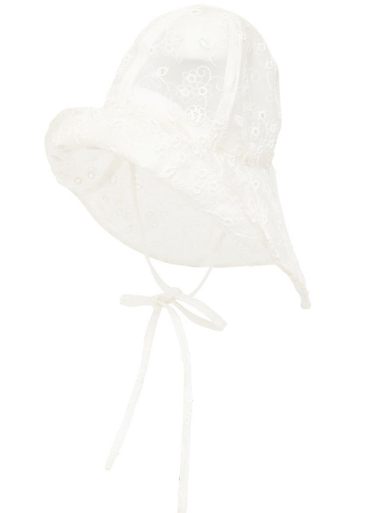 MAISON MICHEL Julienne Embroidered Waterproof Pvc Hat in white